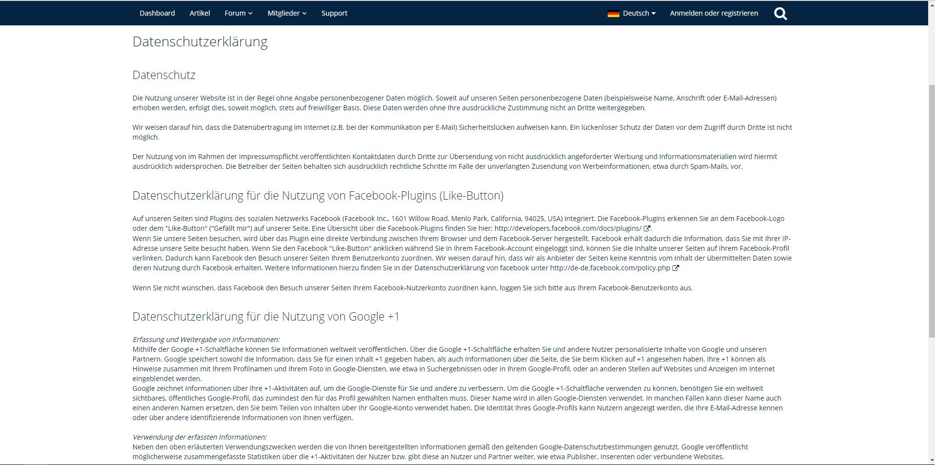Text der Datenschutzerklärung nicht veränderbar - WoltLab Suite 3.0 ...