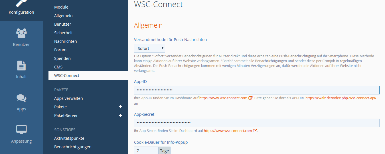 WSC-Connect - Smartphone app with push messages for your