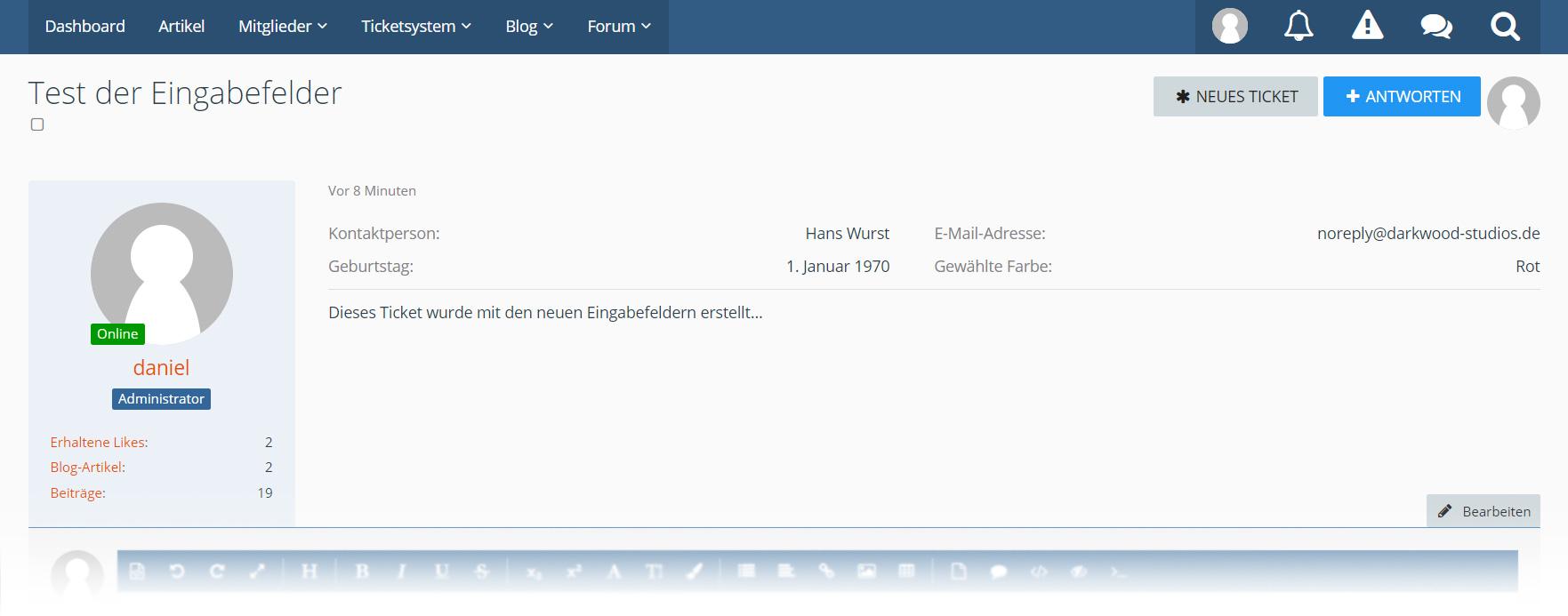 Ticket system: Input fields - WoltLab®
