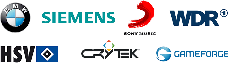 BMW, Siemens, Sony Music, WDR, HSV, Crytek, Gameforge